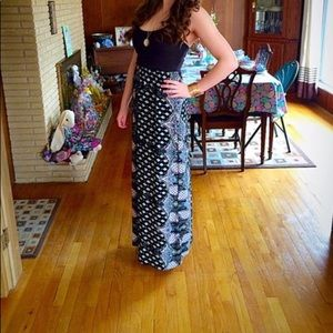 Black and paisley print maxi dress (size: M)
